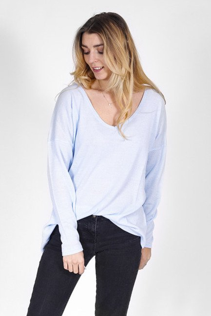 501d7554c1 Cienki sweter z dekoltem w serek błękitny