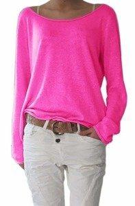 Damen Rundhalsausschnitt Langarm Lose Bluse Strickpulli Hemd Shirt Oversize  Sweatshirt in vielen Trend Farben Tops 006de1412b