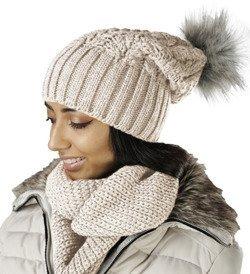 4c4c54bba8aa86 Mikos Damen Frauen Strickmütze Mütze | Herbst Winter | Beanie Mit  Kunstfellbommel | Kristalle Kiesel mit
