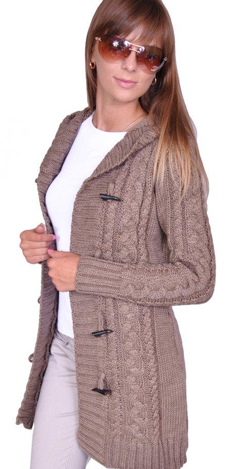 ad29fa08e148ce Damen Strick Jacke Mantel Pullover Neu mit Kapuze Beige Grau Warm Zum  Vergrößern klicken ...