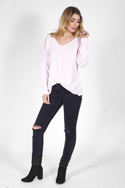 big sale 57b99 a3b37 Feinstrickpullover mit V-Neck - rosa różowy   Kleidung ...