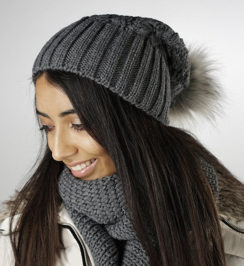 Herren Damen Winter Strick Mütze Long Beanie mit Bommel