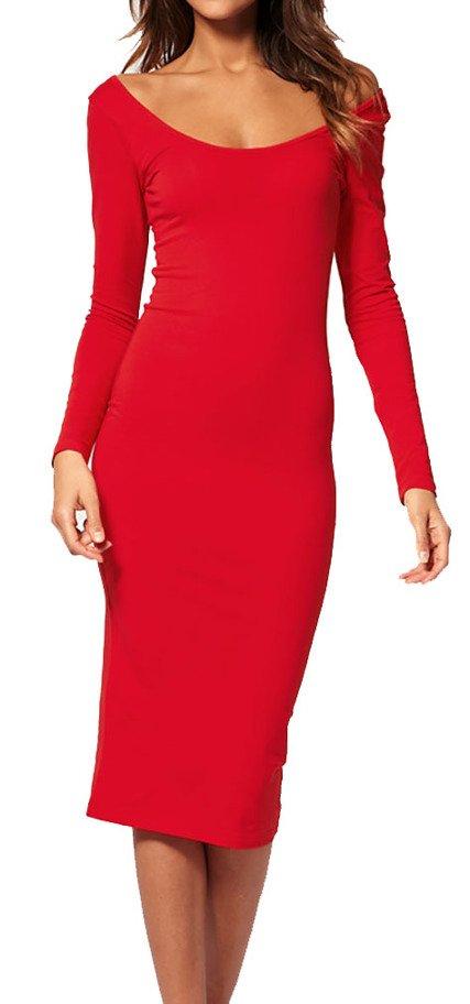 Mikos Elegant Damen Kleid Abendkleid Dress Sexy Dekollete Schwarz Rot S M M L 36 38 40