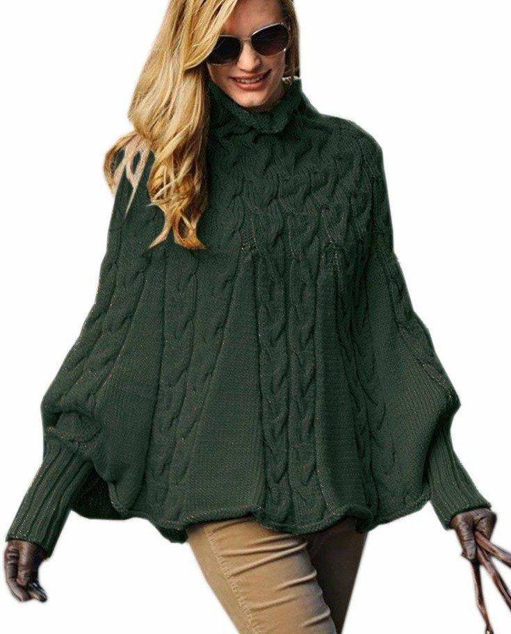 2aef961b66d4e6 Mikos Eleganter Damen Poncho Rollkragenpullover Damen Pullover ...