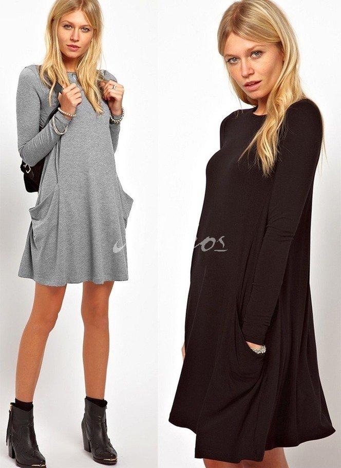 Tunika Longshirt Damen mit Taschen Kleid Minikleid S M L ...