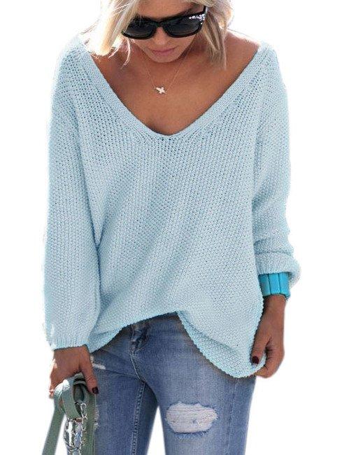 Schöner Damen Frauen Sommer Pullover V-Ausschnitt Pulli schöne ... b975351ac1