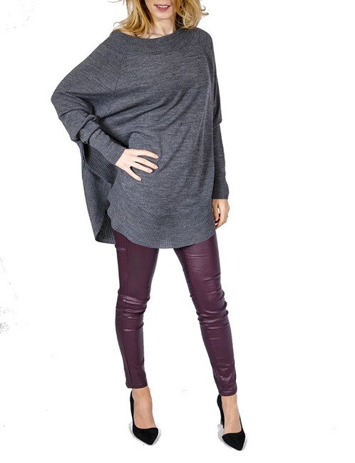 Pullover style Poncho - anthrazit