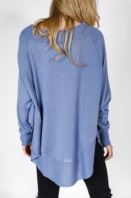Pullover style Poncho - blau