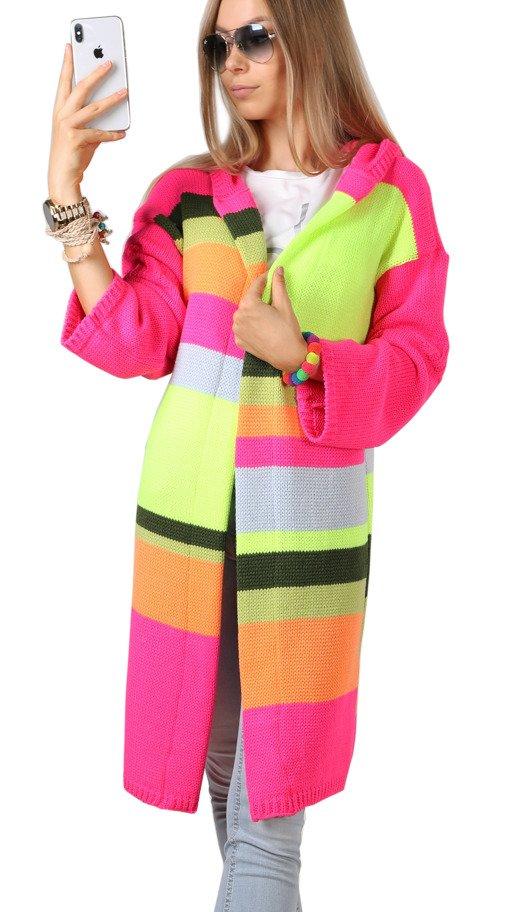 4acd22bcf2ccc2 MIkos długi sweter damski kardigan warkocz asymetryczny