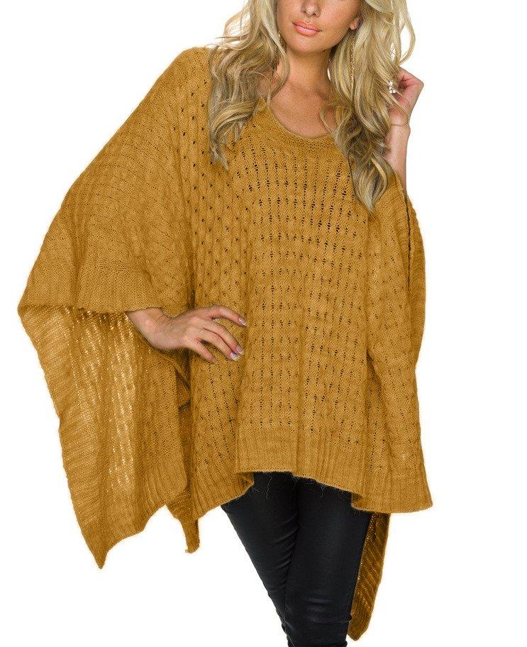 6c2548e21a5046 Mikos długi sweter damski ponczo asymetryczny oversize 676 musztardowy  Kliknij, aby powiększyć